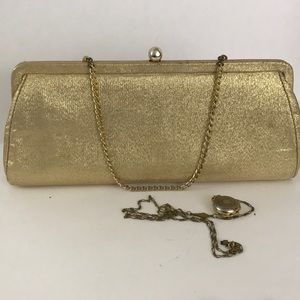 1960's gold fabric clutch.